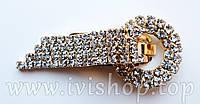 Шубный крючок-застежка 6,0 см, под золото. круглая, со стразами