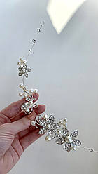 """Диадема """"Хрусталь"""" , искусственный жемчуг, кристаллы. 50.0, 270.0, Ювелирный сплав, Жемчуг искусственный, белая"""