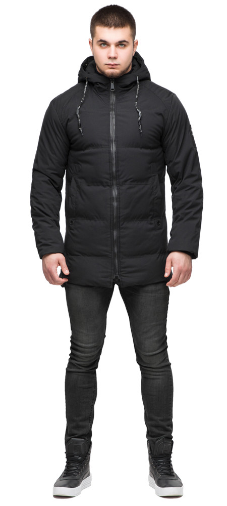 Куртка удобная мужская зимняя чёрного цвета модель 25400 (ОСТАЛСЯ ТОЛЬКО 54(XXL))