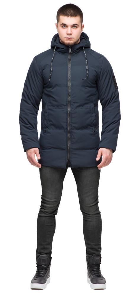 Зимова чоловіча темно-синя куртка молодіжна на змійці модель 25400