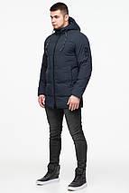 Мужская зимняя тёмно-синяя куртка на змейке модель 25400 (ОСТАЛСЯ ТОЛЬКО 48(M)), фото 2