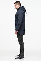 Мужская зимняя тёмно-синяя куртка на змейке модель 25400 (ОСТАЛСЯ ТОЛЬКО 48(M)), фото 3