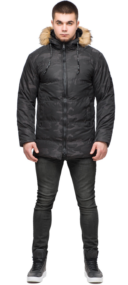 Мужская стильная куртка зимняя цвет чёрный модель 25350 (ОСТАЛСЯ ТОЛЬКО 52(XL))