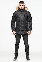 Мужская стильная куртка зимняя цвет чёрный модель 25350 (ОСТАЛСЯ ТОЛЬКО 52(XL)), фото 2