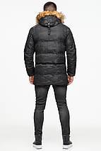 Мужская стильная куртка зимняя цвет чёрный модель 25350 (ОСТАЛСЯ ТОЛЬКО 52(XL)), фото 3