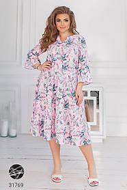 Стильное платье миди больших размеров
