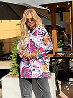 """Вітровка жіноча демісезонна з яскравим принтом, розміри 42-44 """"VLADA"""" купити недорого від прямого постачальника"""