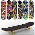 Дерев'яний Скейтборд MS 0321-1 алюм.підвіска, колеса силікон, 7 шарів, Чорний Т, фото 2