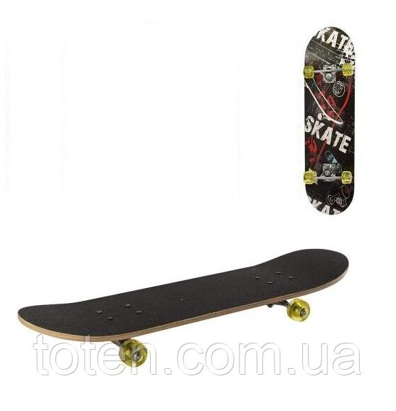 Дерев'яний Скейтборд MS 0321-1 алюм.підвіска, колеса силікон, 7 шарів, Чорний Т