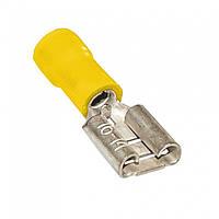 Клемма кабельная плоская (гнездо) 4-6мм², 6.35х0.5мм, жёлтая, 100шт