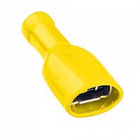 Клемма кабельная плоская (гнездо) 4-6мм², 6.35х0.8мм, жёлтая, 100шт., 500551