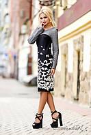 Женское эффектное платье с ярким романтичны принтом