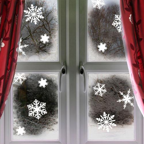 Набор новогодних наклеек на окно Снежинки (снег, наклейки на стекло, новогодний декор)