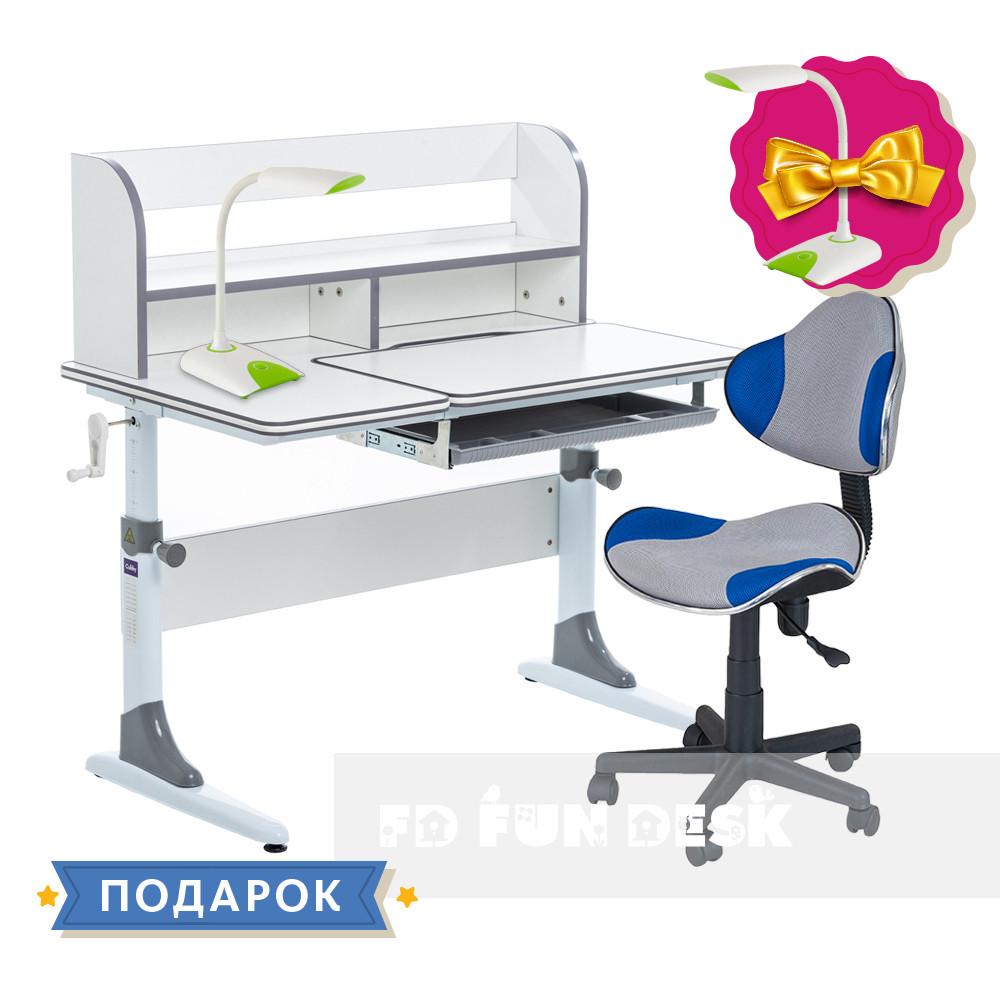 Комплект для школярів зростаюча парта Cubby Nerine Grey + стілець для школяра FunDesk LST3 Blue-Grey