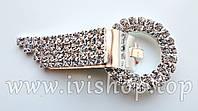 Шубный крючок-застежка 7,0 см, под серебро, круглая, со стразами
