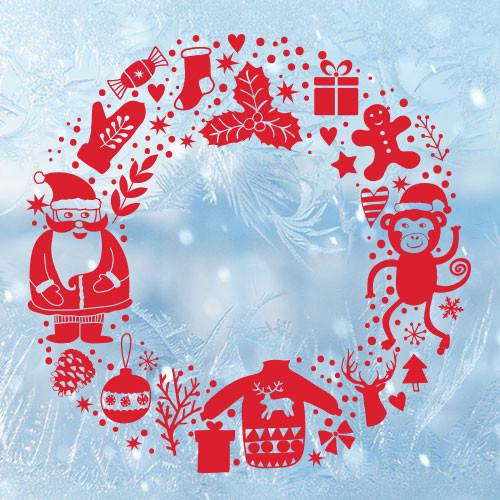 Новогодняя интерьерная наклейка Веночек (декор стен, окон, дверей, санта, снежинки, пленка)