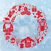 Новогодняя интерьерная наклейка Веночек (декор стен, окон, дверей, санта, снежинки, пленка), фото 1