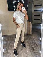 Женские штаны с завязками на поясе бежевый