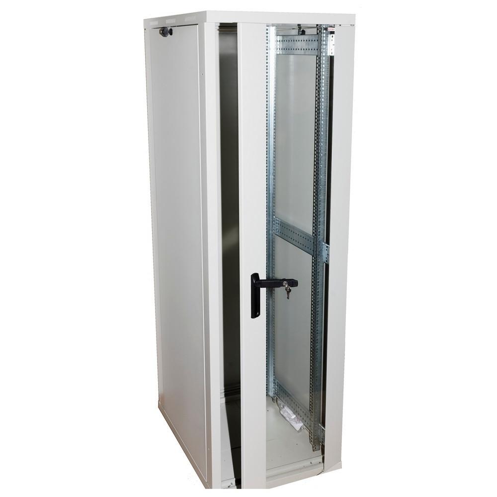 Шкаф напольный  42U-600X600 стекло, серый, ZT-NET