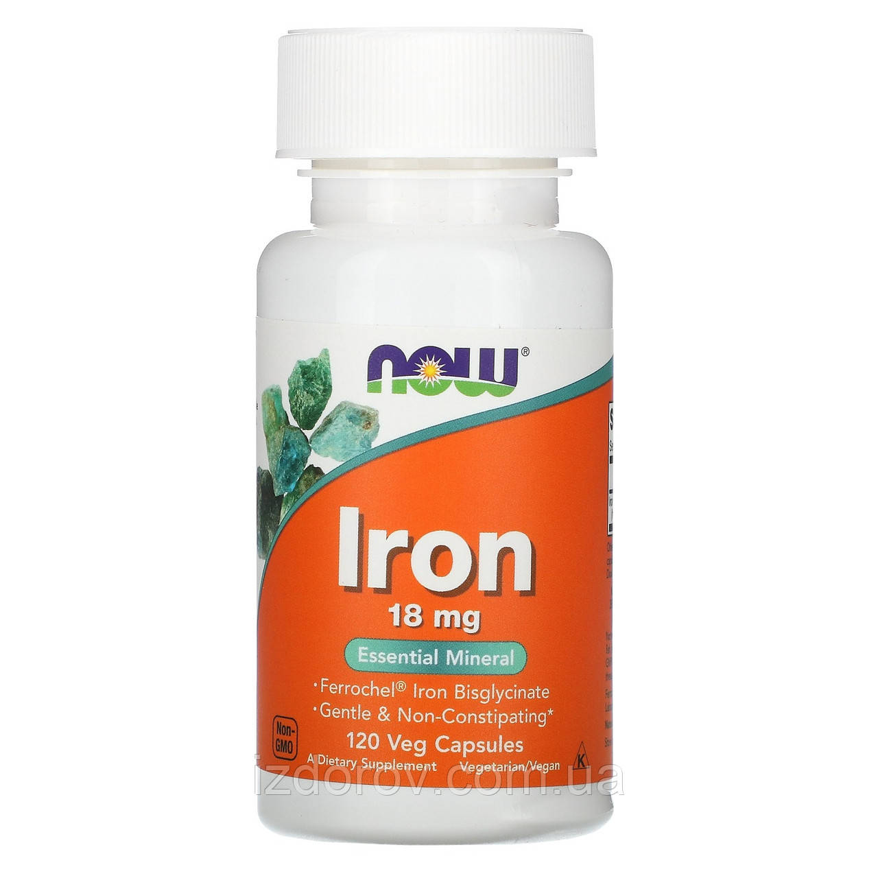 Now Foods, Железо хелат 18 мг (бисглицинат), Iron Chelate, 120 растительных капсул