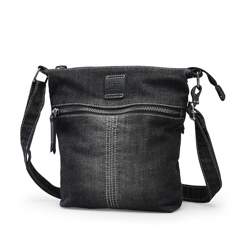 Чорна тканинна чоловіча сумка через плече Muzee вінтажного стилю Чоловіча наплічна сумка