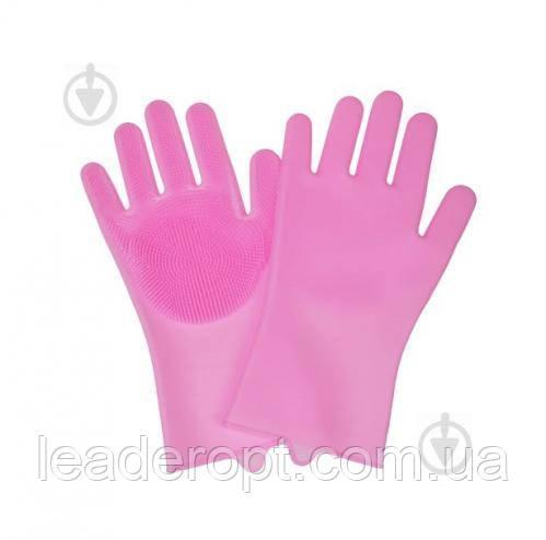 [ОПТ] Перчатки с щеткой  для уборки и мытья посуды(Розовый)