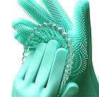 [ОПТ] Перчатки с щеткой  для уборки и мытья посуды(Розовый), фото 7