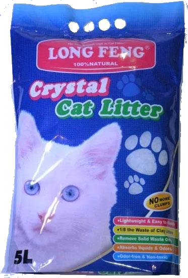 Силикагелевый наповнювач для котів 5 л / 2.1 кг (Long Feng Crystal Cat Litter Крістал силикагелевый