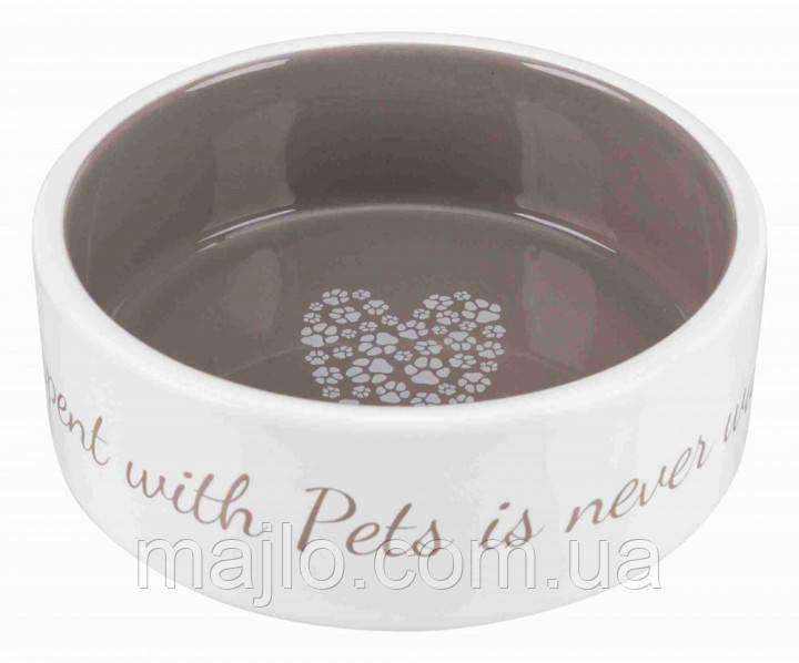 """Миска """"Pets Home"""" Trixie для собак 0,3 л х 12см кремовий з сірим (TX-25053)"""