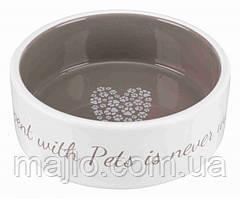 """Миска """"Pets Home""""  Trixie для собак 0,3л х 12см  кремовый с серым   (TX-25053)"""