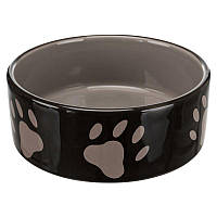 Миска керамическая для собак Trixie  1,4л/20см, коричневый/крем/следы лап