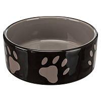 Миска керамічна для собак Trixie 1,4 л/20см, коричневий/крем/сліди лап