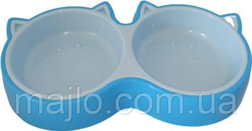 Миска для котов Animall двойная S 2х200 мл котенок P944 Голубая (2000981179991)
