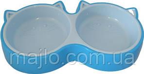 Миска для котів Animall подвійна S 2х200 мл кошеня P944 Блакитна (2000981179991)