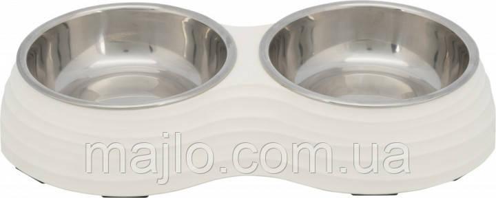 Миска металлическая двойная для собак Trixie  меламин\метал 2*0,8\17см\40*7*22см белая