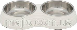 Миска металева подвійна для собак Trixie меламін\метал 2*0,8\17см\40*7*22 см біла