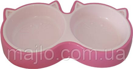 Миска для котов Animall двойная S 2х200 мл котенок P944 Розовая (2000981179984)
