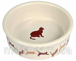 Миска керамическая для котов Trixie с кошкой 200 мл 4019 (4011905040196)
