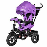 Велосипед триколісний для дітей від 10 місяців фіолетовий Триколісний дитячий велосипед з батьківською ручкою
