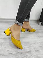 Желтые замшевые сабо на каблуке, фото 1
