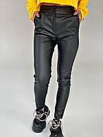 Кожаные женские брюки черные с высокой посадкой СП/-06533