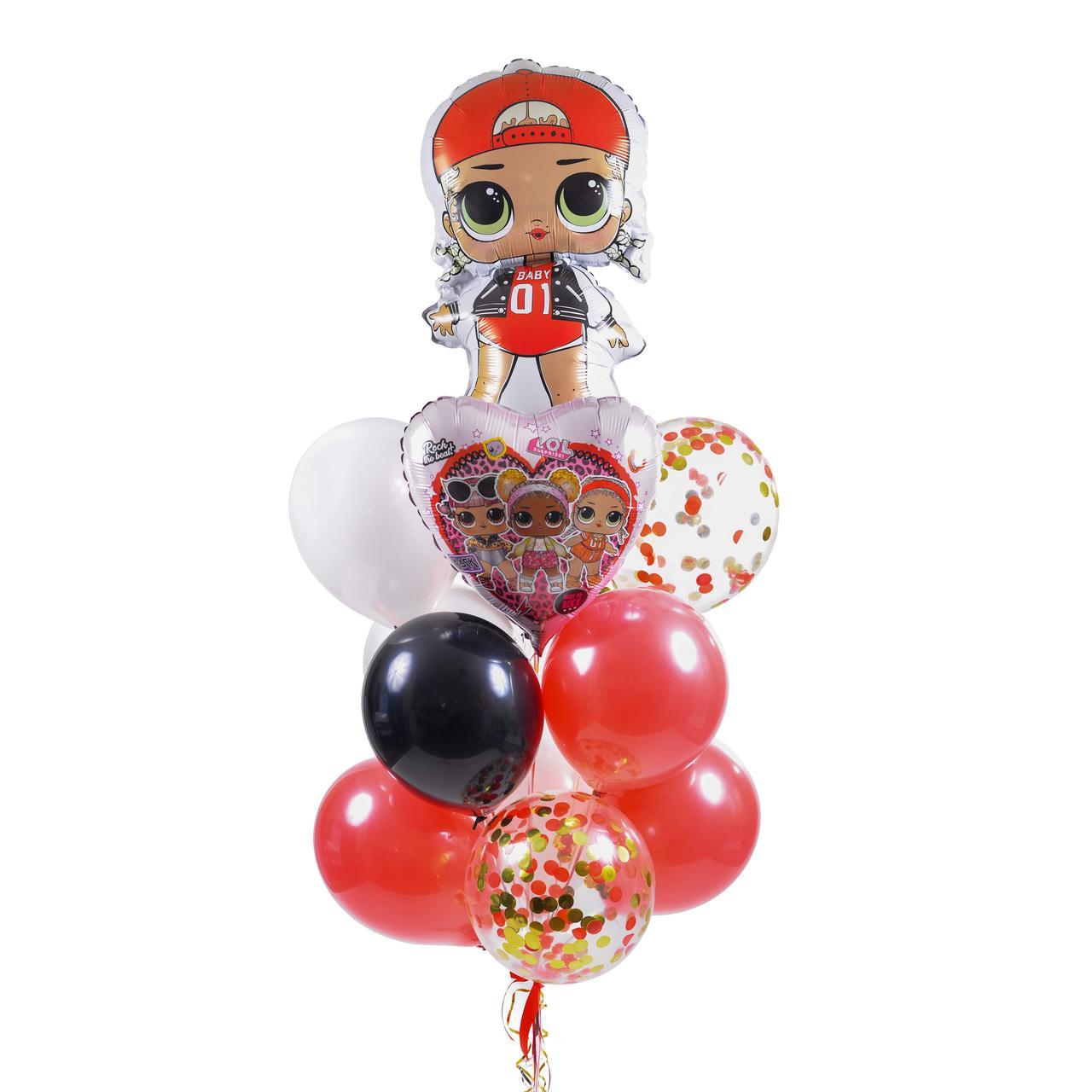Связка воздушных шаров с куклой ЛОЛ Эм Си Сваг