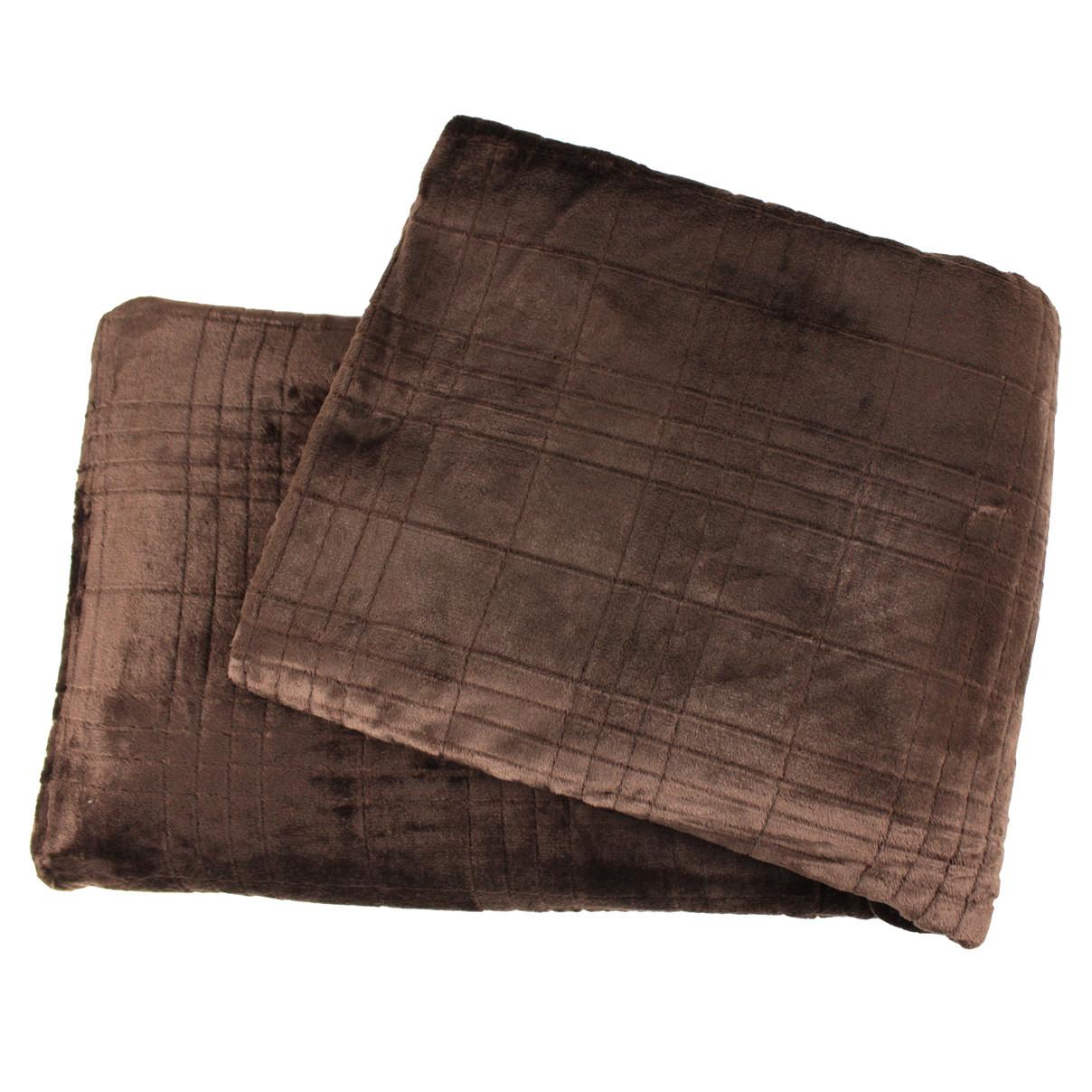 Покрывало плед однотонный квадрат микрофибра коричневое 180х200