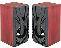 Колонки для ПК комп'ютера Prime FT-858AC 220V Red Wooden (7627), фото 1
