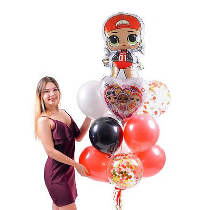 Связка воздушных шаров с куклой ЛОЛ Эм Си Сваг, фото 2