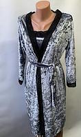 Женский велюровый комплект халат и ночнушка