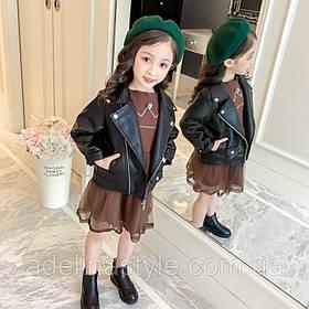 Куртка косуха детская демисезонная из эко кожи унисекс черная 2,6 лет