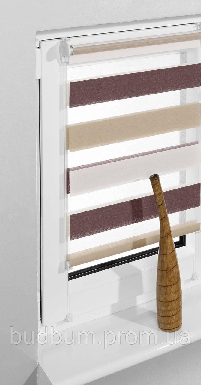 Роллета-мини Zebra trikolor белый/латэ/коричневый (ZTC-1) 75*160см