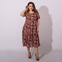 Очень красивое женское летнее шифоновое платье размеры 50,52,54,56