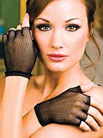 Короткие черные перчатки из сеточки